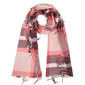 Elegant Essence Plaid Caterpillar Tassel Scarf